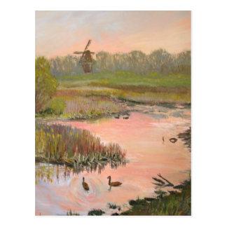 水辺地帯の風車 ポストカード