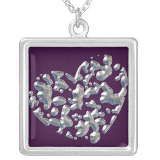水銀のハートの正方形のネックレス シルバープレートネックレス