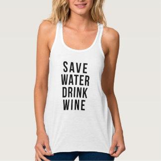 水飲み物のワインのワイシャツを救って下さい タンクトップ