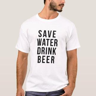 水飲み物ビールワイシャツを救って下さい Tシャツ