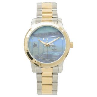 水2調子の腕時計の下のイルカ 腕時計