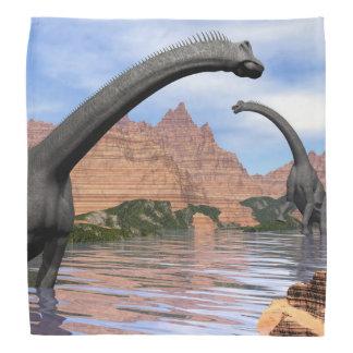 水3Dのブラキオサウルスの恐竜は描写します バンダナ