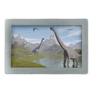水3Dのブラキオサウルスの恐竜は描写します 長方形ベルトバックル