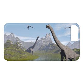 水3Dのブラキオサウルスの恐竜は描写します iPhone 8 PLUS/7 PLUSケース