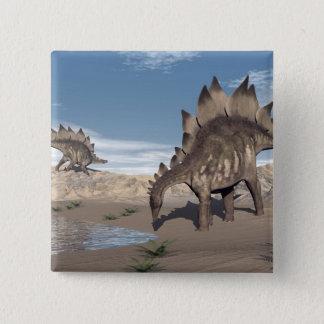 水3Dの近くのステゴサウルスは描写します 5.1CM 正方形バッジ