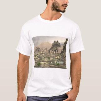 水3Dの近くのステゴサウルスは描写します Tシャツ