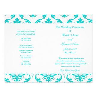 水|ティール(緑がかった色)|青い|ヴィンテージ|ダマスク織|結婚|プログラム チラシ広告