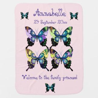 水、ピンクおよび黄色-エレガントな蝶 ベビー ブランケット