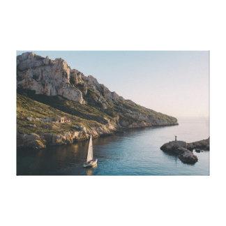 水|崖|の空のヨット キャンバスプリント