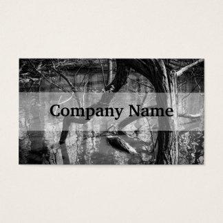 水、暗い恐怖写真、森の木 名刺