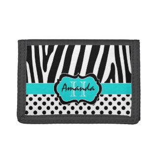水、黒、白いシマウマのストライプのな三つ折り財布