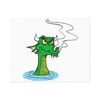 水horned.pngからのドラゴンの頭部 キャンバスプリント