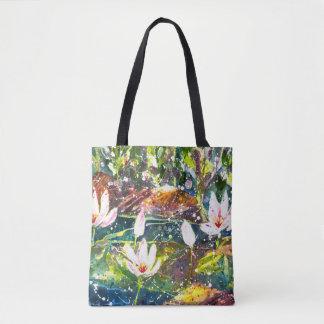 水Lillyの池の水彩画のトートバック トートバッグ