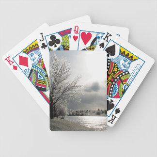 氷ったの写真が付いているカードを遊ぶこと、冬の景色 バイスクルトランプ