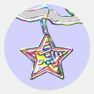 氷った枝のクリスマスの星 ラウンドシール