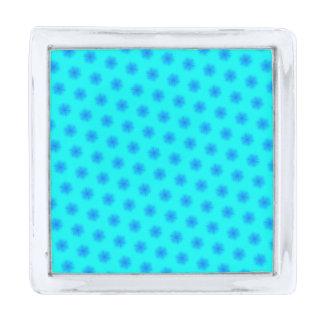 氷った水および青い雪片パターン 銀色 ラペルピン