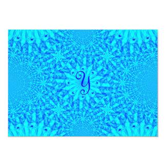 氷った青いフラクタルのモノグラムY カード