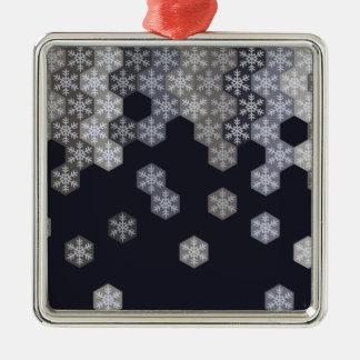 氷った青および灰色の冬の雪片の六角形 メタルオーナメント
