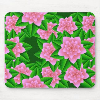 氷のピンクのツバキおよび緑の葉 マウスパッド