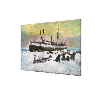 氷の汽船の着陸 キャンバスプリント