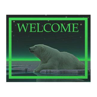氷の端の白くま-歓迎 ウッドウォールアート