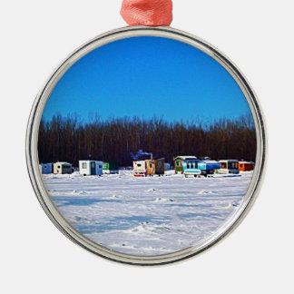 氷の魚釣りのコレクション メタルオーナメント