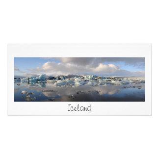 氷山の湖および文字が付いているパノラマカード: アイスランド カード