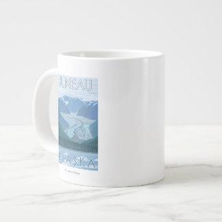 氷河場面-ジュノー、アラスカ ジャンボコーヒーマグカップ