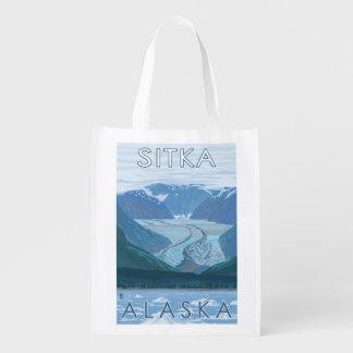 氷河場面- Sitka、アラスカ エコバッグ