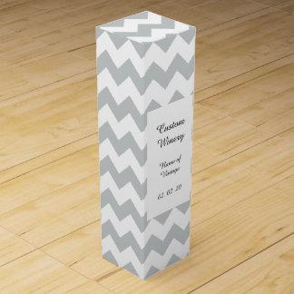 氷河灰色白のシェブロンパターン ワインギフトボックス