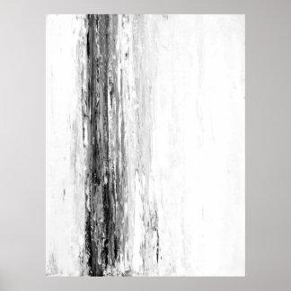 「氷河」白黒抽象美術 ポスター