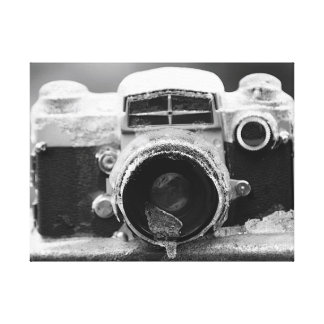 氷雨のヴィンテージの黒く及び白いカメラ キャンバスプリント