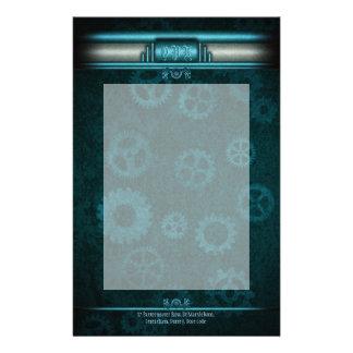 氷青いのモノグラム、Steampunked Decoおよびティール(緑がかった色) 便箋