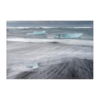 氷、アイスランドとの荒い海景 アクリルウォールアート