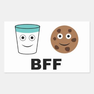 永久にミルクおよびクッキーベストの友人 長方形シール