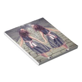 永久にヴィンテージのジェミニ親友の対の女の子 ノートパッド