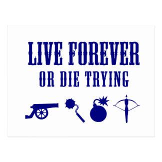 永久に住みますか、または試みることを死んで下さい(武器) ポストカード