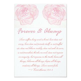 永久に及び常にばら色の聖なる書物、経典の結婚式 12.7 X 17.8 インビテーションカード