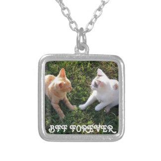 永久に永久にBFFの-親友かわいい猫 シルバープレートネックレス