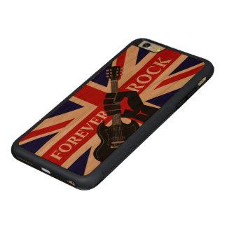 永久に石の英国国旗およびギター CarvedチェリーiPhone 6 PLUSバンパーケース