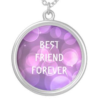 永久に紫色のグリッターの親友 シルバープレートネックレス