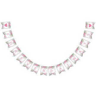 永久に結婚するピンクの水彩画愛花 バンティングフラッグ