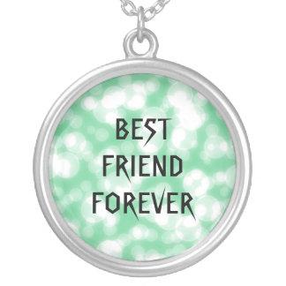 永久に緑のグリッターの親友 シルバープレートネックレス