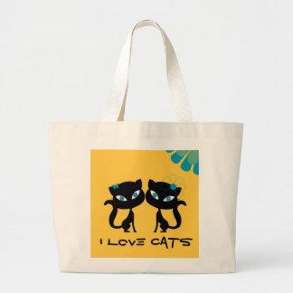 永久に親友 (BFF)、私は猫を愛します! ラージトートバッグ