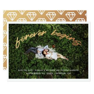 永久に|の保存を日付の写真平らなカード始めます カード