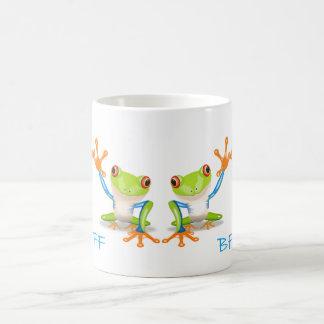 永久にBFFの親友のカエルの白いコーヒーカップ コーヒーマグカップ