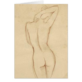 永続的な裸の女性のスケッチ カード