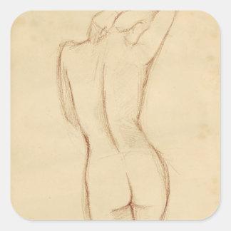 永続的な裸の女性のスケッチ スクエアシール