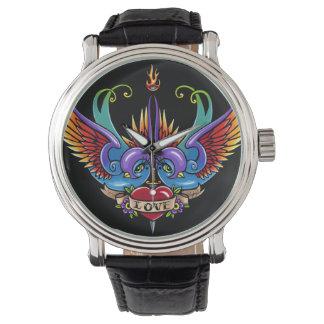 永遠の愛つばめの入れ墨の黒の革腕時計 腕時計