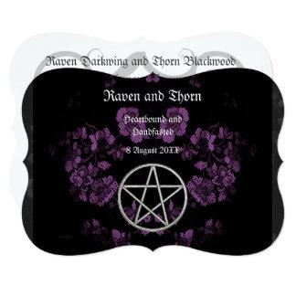 永遠のHandfastingまたは結婚式の星形五角形のラベンダーSte カード